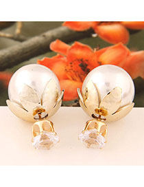 Automatic White Round Shape Decorated Simple Design Alloy Stud Earrings