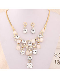Active Beige Gemstone Decorated Square Shape Design Alloy Jewelry Sets
