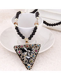 Printed Black Diamond Decorated Triangle Pendant Design Alloy Bib Necklaces