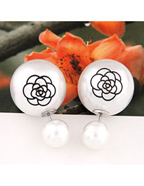 Tummy White Pearl Decorated Rose Pattern Design Alloy Stud Earrings