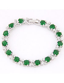 Boxed Green Diamond Decorated Simple Design Zircon Fashion Bracelets