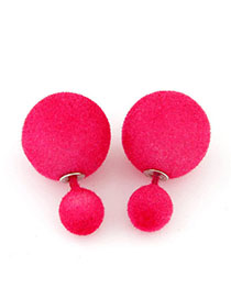 Cool Plum Red Pure Color Round Shape Simple Design Alloy Stud Earrings