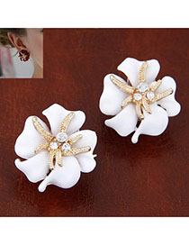 Beautiful White Diamond Decorated Flower Design Alloy Stud Earrings