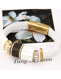 China White Gemstone Decorated Simple Design Alloy Fashion Bracelets