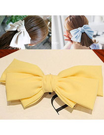Stylish Yellow Pure Color Bowknot Shape Simple Design Alloy Hair Clip Hair Claw