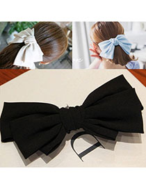 Quality Black Pure Color Bowknot Shape Simple Design Alloy Hair Clip Hair Claw