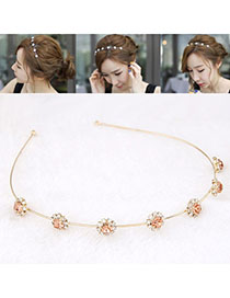 Monogram Pink Diamond Decorated Flower Design Alloy Hair Band Hair Hoop