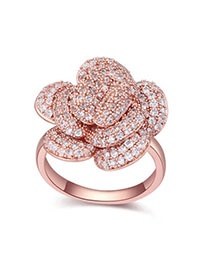 Baroque White & Rose Gold Diamond Decorated Flower Design Zircon Crystal Rings