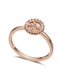 Hydraulic White & Rose Gold Diamond Decorated Peace Shape Design Zircon Crystal Rings