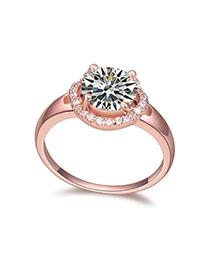 Vellum White & Rose Gold Diamond Decorated Simple Design Zircon Crystal Rings