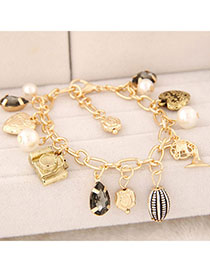 Memorial Gold Color Pearl Decorated Multi-element Design