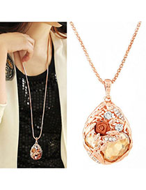 Synthetic Champagne Color Diamond Decorated Waterdrop Shape Pendant Design