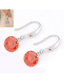 Lilac Orange Diamond Decorated Simple Design Cuprum Korean Earrings