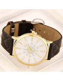 Unique Black Snowflake Pattern Simple Design Alloy Ladies Watches