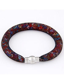 Faux Multicolor Diamond Decorated Hollow Out Design Alloy Korean Fashion Bracelet