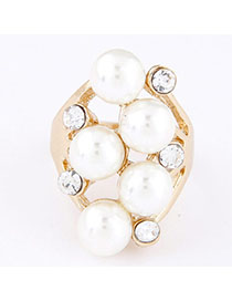 Pagan White Pearl Decorated Simple Design Alloy Korean Rings