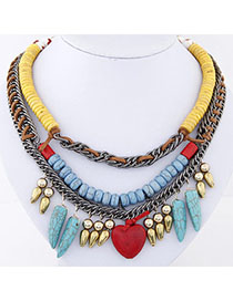 Military Multicolor Heart Shape Decorated Double Layer Design Alloy Bib Necklaces