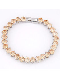 Electronic Champagne Diamond Decorated Simple Design Cuprum Fashion Bracelets