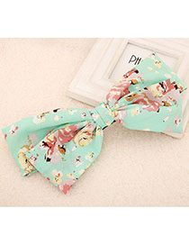 Ferret Light Green Flower Pattern Bowknot Shape Design Fabric Hair Clip Hair Claw