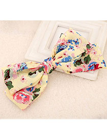 Magnetic Yellow Flower Pattern Bowknot Shape Design Fabric Hair Clip Hair Claw
