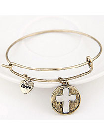 Charming Bronze Cross Shape Decorated Simple Design Alloy Fashion Bangles