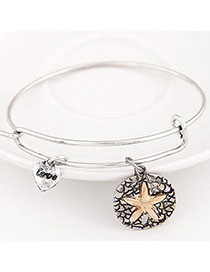 Mysterious Antique Silver Starfish Shape Decorated Simple Design Alloy Fashion Bangles