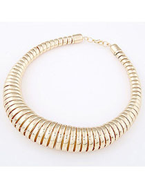 Facial Gold Color Spring Shape Simple Design Alloy Chokers