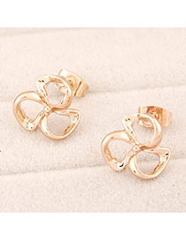 Magic Gold Color Clover Shape Decorated Simple Design Alloy Stud Earrings