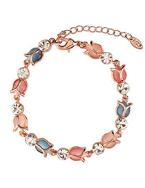 Magnifying Multicolor Diamond Decorated Lotus Shape Design Alloy Korean Fashion Bracelet