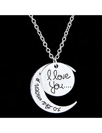 High Waist Silver Color Moon Shape Pendant Simple Design Alloy Chains