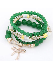 Fall Green Bowknot Shape Decorated Multilayer Design Alloy Korean Fashion Bracelet