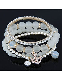 Slacks White Diamond Decorated Multilayer Design Alloy Korean Fashion Bracelet