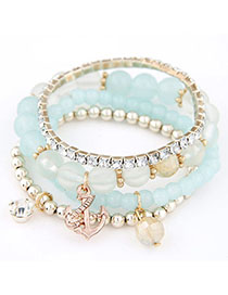 Handmade Blue Diamond Decorated Multilayer Design Alloy Korean Fashion Bracelet