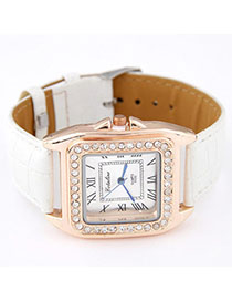 Headrest White Diamond Decorated Square Shape Design Alloy Ladies Watches