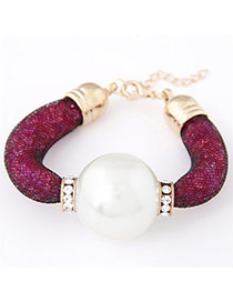 Piercing Plum Red Pearl Decorated Simple Design Alloy Korean Fashion Bracelet
