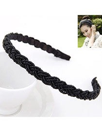 Winding Black Beads Decorated Weave Design Alloy Hair Band Hair Hoop