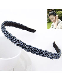 Cubic Gun Black Beads Decorated Weave Design Alloy Hair Band Hair Hoop