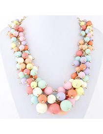 Moving Multicolor Candy Color Beads Decorated Simple Design Alloy Bib Necklaces