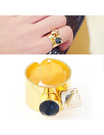 Lovely Gold Color Gemstone Decorated Simple Design Alloy Korean Rings