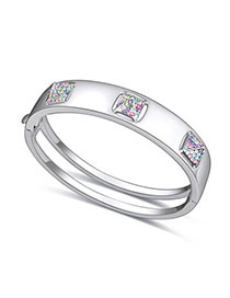 Stylish Multicolor Diamond Decorated Simple Design Alloy Crystal Bracelets