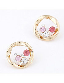 Elephant Plum Red Diamond Decorated Round Shape Design Alloy Stud Earrings
