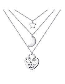 Male Silver Color Moon & Star Shape Decorated Simple Design Cuprum Crystal Necklaces