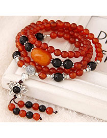 Infinity Red Beads Decorated Multilayer Design Alloy Fashion Bracelets