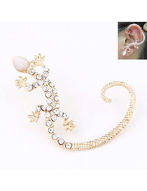 Players Gold Color Diamond Decorated Gecko Shape Design Alloy Stud Earrings