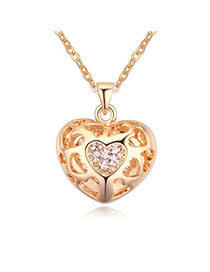 Long Champagne Gold Diamond Decorated Heart Shape Pendant Design Alloy Crystal Necklaces