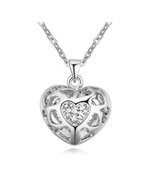 Rolling Platinum Diamond Decorated Heart Shape Pendant Design Alloy Crystal Necklaces