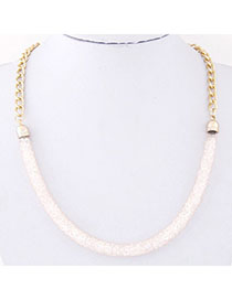 Snowboardi Light Pink Chain Shape Decorated Simple Design Alloy Korean Necklaces