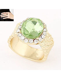 Retro Green Diamond Decorated Simple Design Alloy Korean Rings