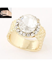 Contempora White Diamond Decorated Simple Design Alloy Korean Rings