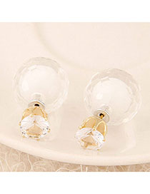 Homecoming White Conady Color Diamond Decorated Round Shape Design Alloy Stud Earrings